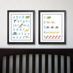 Dinosaur Alphabet and Number Nursery Art 16 x 20 , Kids Wall Art, Dinosaur Decor Set- Dinosaur Wall Decor, Letters and Numbers