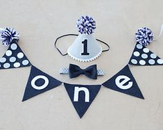 Boys First Birthday Navy and Grey Party Hat and Banner - Boys 1st Birthday Cake Smash