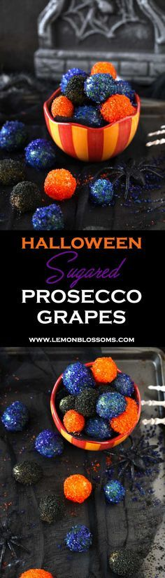 These Sugared Prosecco Grapes are boozy, sweet, a little crunchy and incredibly festive. The perfect last minute fun treat for a spooktacular Halloween. #halloween #dessert #snack #appetizer #prosecco via @lmnblossoms