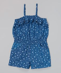 Another great find on #zulily! Medium Blue Stars Ruffle Romper - Girls by Chillipop #zulilyfinds