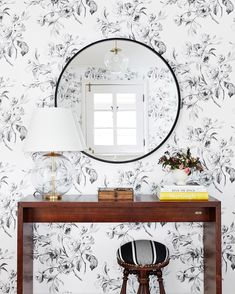 Black and White Floral Wallpaper. Entryway Wallpaper. Floral Wallpaper.