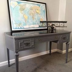 Milk Paint - Driftwood Page 2 General Finishes Design Center Gray Painted Furniture, Grey Furniture, Painted Desks, Old World Furniture, Painted Driftwood, Kitchen Cabinet Colors, Kitchen Cabinets, Painting Leather, Milk Paint