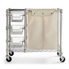 Four-Tier Corner Shelf & Liners Laundry Cart, Laundry Room Storage, Laundry Hamper, Closet Storage, Laundry Closet, Laundry Rooms, Kitchen Storage, Pantry Shelving, Shelves