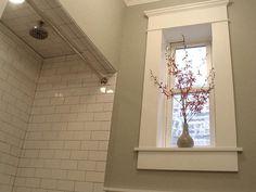 maybe add faux window to interior bathroom? Bathroom Renos, Bathroom Windows, Bathroom Ideas, Shower Ideas, Window Casing, Window Moulding, Classic Style Bathrooms, Window In Shower, Faux Window