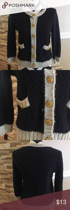 Knitted Cute Sweater Good condition. Will match anything, dark blue color with gold accessories. Forever 21 Sweaters