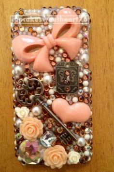 Peach bling phone case