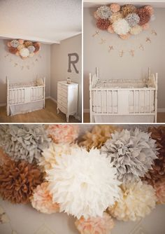 Tissue paper pom poms above crib