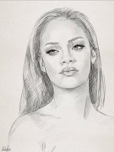 Pencil sketch drawing portrait of Rihanna by Ahmad Kadi