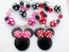 minnie mouse beaded necklace in pink or red by creardesigns, $14.00