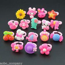 20Pcs/Set Kawaii Child Kids Cartoon Rings Jewelry Animals Shaped Plastic Loop