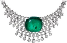 """CARTIER. {Close up} """"Hyperbole"""" Necklace/Tiara - white gold, one 140.21-carat cushion-shaped cabochon-cut emerald from Colombia, seven E/F IF/VVS1/VVS2 brilliant-cut diamonds totalling 4.58 carats, brilliant-cut diamonds. The creation can be worn as a tiara or a necklace. #Cartier #RésonancesDeCartier #2017 #HighJewellery #HauteJoaillerie #FineJewelry #Emerald #Diamond"""