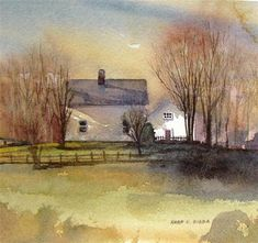 """The White Barn"" - Original Fine Art for Sale - © Kara K. Bigda  Love her work!"