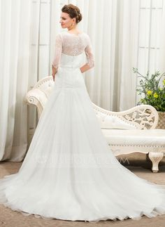 A-Line/Princess V-neck Cathedral Train Tulle Charmeuse Lace Wedding Dress With Bow(s) (002056461) - JJsHouse