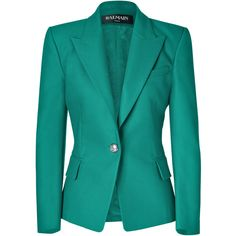 BALMAIN Emerald One Button Stretch Cotton Blazer (€800) ❤ liked on Polyvore featuring outerwear, jackets, blazers, coats, tops, balmain, 1 button blazer, blazer jacket, balmain jacket and long sleeve blazer