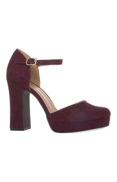 Primark - Zapatos de plataforma burdeos años 70