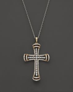 Arrow Jewelry Stainless Steel cross with diamond cut solid 14K gold cross pendant