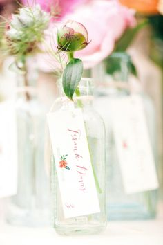 escort cards as wedding favors http://www.weddingchicks.com/2013/10/18/colorful-garden-wedding-ideas-2/