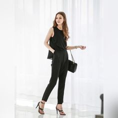 """Sophisticated Stylish sleeveless Jumpsuit  Sophisticated stylish sleeveless jumpsuit  Overview:  (1) O Neck (2) Solid Color (3) Sleeveless (4) Vertical Pockets Fit&Sizing:  Stretchable Little Detail in Tile Measurement: Size(cm) (One Size) Bust-86 Top length-63 Pants Length-93 Waist-Elastic Warm Tips: 1.Please Check The Above Detailed Measurement To Choose The Correct Size,  And Allow 3-4 Cm (1.18""""-1.57"""") Differences Due To Manual Measurement.  2.A little color shading may be caused by the…"""