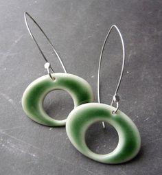 Porcelain Earrings Orbit Extra Long in Emerald by RoundRabbit