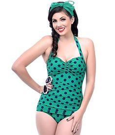 3bc0a2f4fdb41 Navy Polka Dot One Piece Bathing Suit Unique Swimsuits
