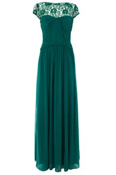 Emerald Green long dress with some integrated elements of lace