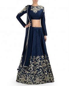 See more detail about Midnight Blue Lengha Set with Zardozi Embroidery..