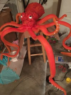 #VBS I made This Octopus as an accent Sea Animal piece for Stage. VBS- Deep Sea Discovery Idea @ Opendoor Presbyterian Church #Octopus - Pool noodle +foam spray