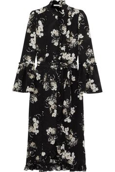 Erdem - Siren Ruffled Floral-print Silk Crepe De Chine Midi Dress - Black