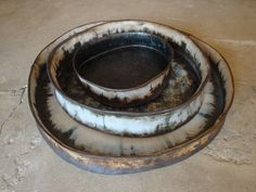 "Platters - Stoneware, Oxides and pencil detail. 18"" to 9"""