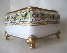 Vintage Square Nippon Hand Painted Porcelain Box ...