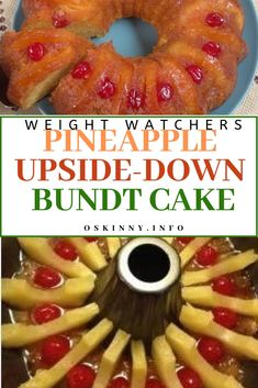 PINEAPPLE UPSIDE-DOWN BUNDT CAKE I love bundt cakes because they are so easy to serve. I found this … It comes out great and it will be the easiest pineapple upside down cake you'll ev… Ww Desserts, Weight Watchers Desserts, Healthy Desserts, Dessert Recipes, Healthy Eats, 0 Carb Foods, No Carb Food List, Ww Recipes, Low Carb Recipes
