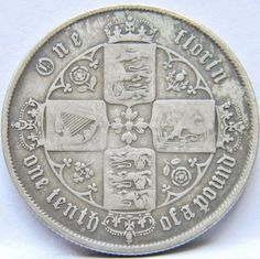 """GREAT BRITAIN, Victoria: 1859 silver """"Gothic"""" Florin/2 Shillings; toned VF …http://high-class-last-minute-offer.newoffers.info/buy/01/?query=401000153380…"""