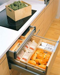 Pull out drawers under the cooktop could be used to store a lot of things