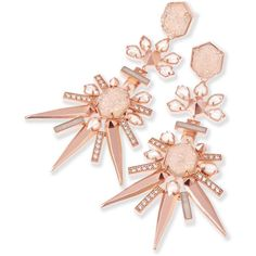 Isadora Statement Earrings in Pink Champagne | Kendra Scott (5,560 MXN) ❤ liked on Polyvore featuring jewelry, earrings, druzy earrings, pink earrings, champagne earrings, drusy earrings and druzy jewelry