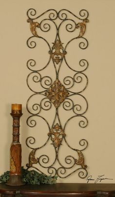 "Ornamental Scroll Copper//Bronze Plated Metal Wall Decor 34/"" wide"