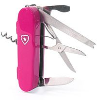 """The Miss-Army-Knife - Designed especially for girls/women, it includes all the things you need and easily fits in a purse or on your key chain. Some of the features: Mirror, flashlight, scissors, nail file, tweezers, pen,  perfume bottle, screwdriver,  safety pin, needle and thread, and a small """"pill box"""" compartment. (You can toss some bobbie pins and a hair tie into the pill box.)"""