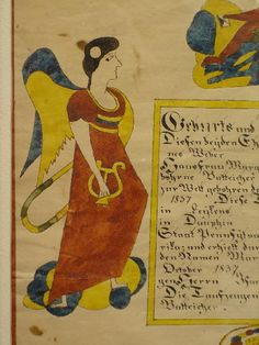"""PENNSYLVANIA FRAKTUR. """"Geburts und Taufschein"""". Hand worked in bright yellow, red, blue and green. From """"Dauphin County, Pennsylvania, 1837"""". Two angels holding lyres, two distlefinks eating berries on a tree branch and a boy holding a letter and horn. Eagle with shield below the text. A few margin tears and minor stains. Paper size approx. 14 1/2"""" x 12"""". Red and blue frame decorated by Tom King. 19 1/2"""" x 16 3/4"""". Ex. Pettibone, Warren, PA., ex. Garth Oberlander."""