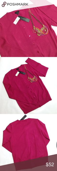 """Talbots dark pink cardigan Versatile sweater for all seasons! 23"""" length, 24"""" sleeves, 18"""" bust, measured flat & relaxed. 75% Pima cotton/22% nylon/3% spandex Talbots Sweaters Cardigans"""