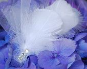 Bridal Feather Facinator with Rhinestones and Tulle - White Off-White Ivory Rhinestones Diamonds Crystals Tulle Hair Clip