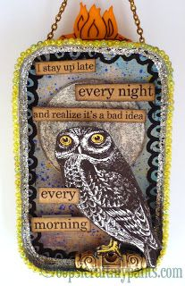 Oops, I Craft My Pants: Night Owl Altered Altoids Tin Lid Plaque