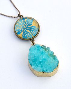 LAST ONE in this stunning color!  New additions to my range of jewellery featuring the pairing of super trendy druzy quartz pendants with my iconic double sided glass pendant for a super uniqu... Sea Jewelry, Handmade Jewelry, Jewellery, Purple Agate, Druzy Quartz, Ball Chain, Glass Pendants, Lilac, Turquoise Necklace