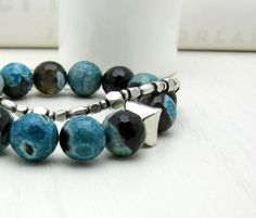 Teal Black Agate Beaded Bracelet  Prime / by cooljewelrydesign, $35.00