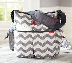 DIAPER BAG:  $58 Gray Chevron Skip Hop Duo Diaper Bag - can be monogrammed (pottery barn kids)