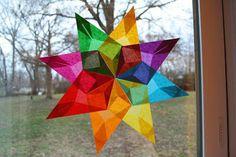 Window Stars from Tissue Paper scraps. So pretty. Moey's Heart & Hearth: Simple Window Stars Tutorial