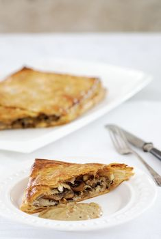 Anna Olson's Mushroom and Brie Wellington is an easy vegetarian offering that belongs on your holiday menu Anna Olsen, Onion Sauce, Stuffed Mushrooms, Stuffed Peppers, Food Concept, New Cookbooks, Caramelized Onions, Brie, Tray Bakes