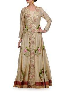Gold Jacket with Floral Zardozi Motif.Find it on www.jivaana.com.