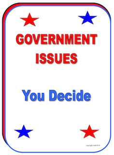 Government Issues YOU decide! priced item. Kids survey friends and family for a classroom activity! priced ite,