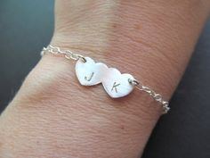 Initial Bracelet .STERLING . Initial Couples by BlueDoveStudio, $34.00
