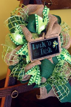 St Patricks Day Wreath Burlap St. Patrick's by Underthekentuckysun
