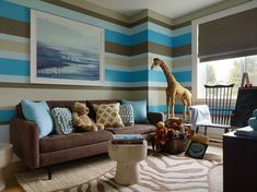 Fantastic boy's playroom with beige, blue & brown stripe walls. #laylagrayce #children #playroom